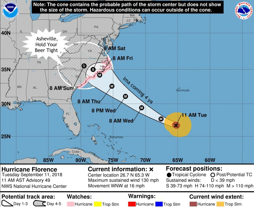 Hurricane Florence Asheville Weather Alert